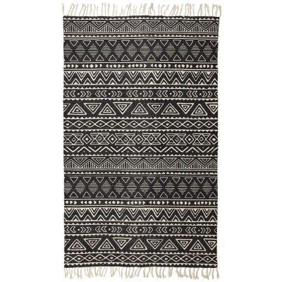Totemic Unite Tribal Cotton Rug, 180x270cm, Black