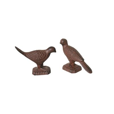 Set of 2 Cast Iron Pigeon Figurine Decor / Paper Weight, Antique Rust