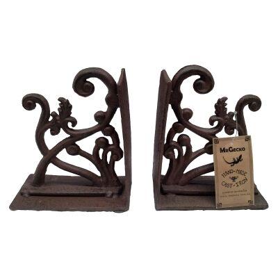 Ivy Cast Iron Book End Set, Antique Rust