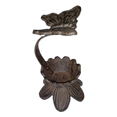 Cast Iron Butterfly Candle Holder, Antique Rust