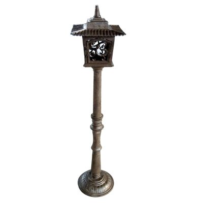 Cast Iron Oriental Garden Post Lantern, Antique Rust