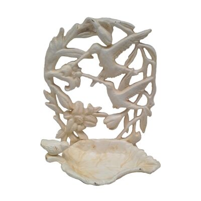 Alvena Cast Iron Wall Mount Bird Feeder, Antique White