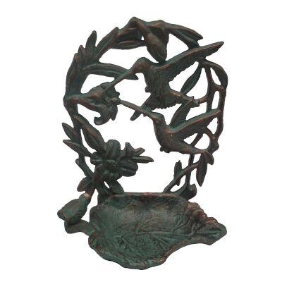 Alvena Cast Iron Wall Mount Bird Feeder, Verdigris