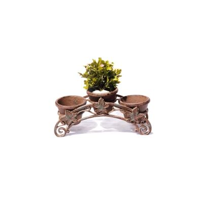Cast Iron Maple Leaf 3 Pot Planter Stand, Antique Rust