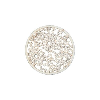 Cast Iron Daisy Trivet, Antique White