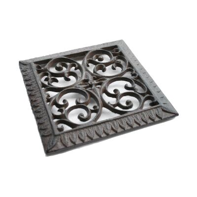 Agnes Cast Iron Square Trivet, Antique Rust