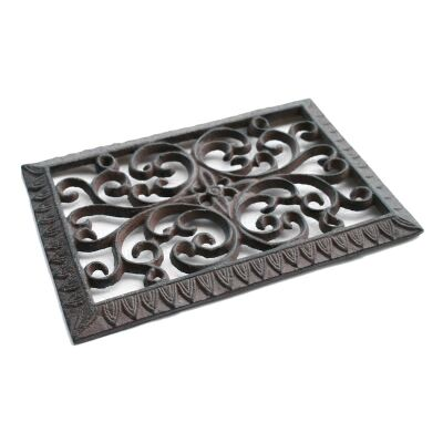 Agnes Cast Iron Rectangular Trivet, Antique Rust