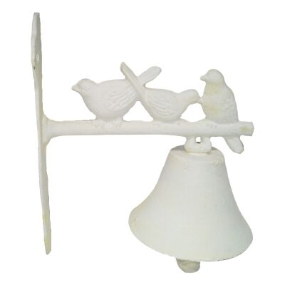 Resting Sparrows Cast Iron Wall Mount Door Bell, Antique White