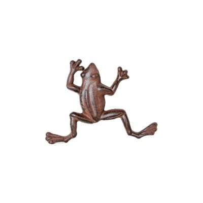 Cast Iron Frog Figurine Garden Decor, Small, Antique Rust