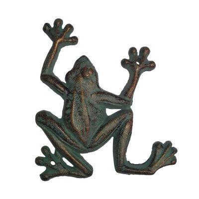 Cast Iron Frog Figurine Garden Decor, Medium, Verdigris