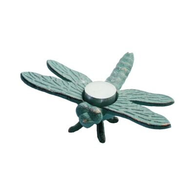 Cast Iron Dragonfly Tealight Holder, Verdigris