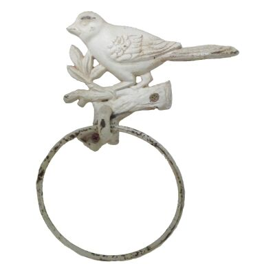 Tweet Cast Iron Towel Ring, Antique White