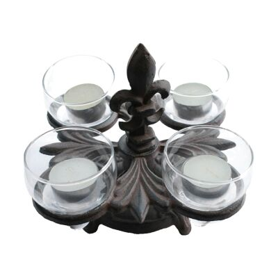 Cast Iron Fleur De Lis Tealight Stand with Glass Holder, Antique Rust