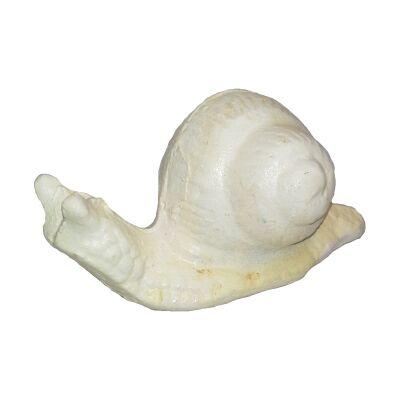 Cast Iron Snail Figurine Garden Decor, Antique White