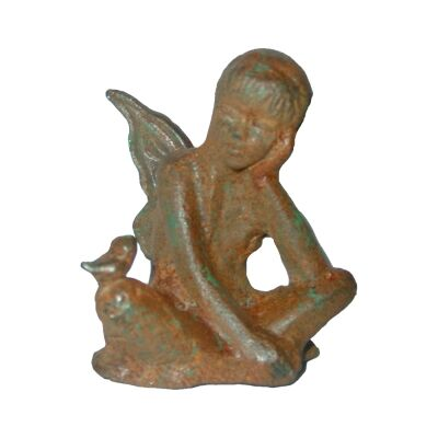 Cast Iron Fairy Zena Figurine Garden Decor, Antique Rust