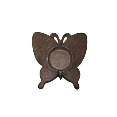 Cast Iron Butterfly Tealight Holder, Antique Rust