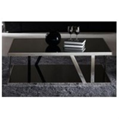 Polished Stainless Steel Coffee Table With Dark Tempered Glass Top