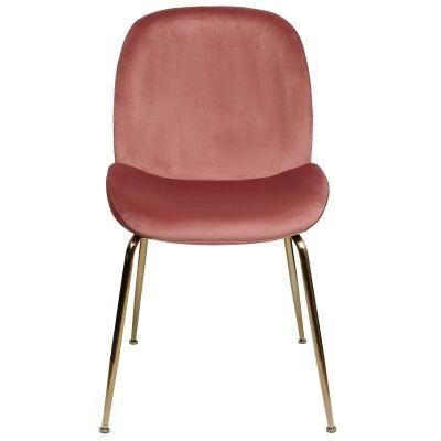 Aizel Velvet Fabric Dining Chair, Blush / Gold