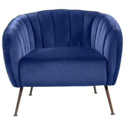 Cecil Velvet Fabric Tub Chair, Navy