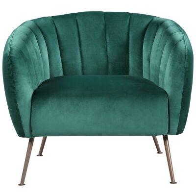 Cecil Velvet Fabric Tub Chair, Emerald