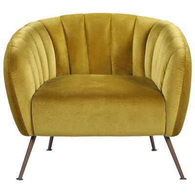 Cecil Velvet Fabric Tub Chair, Gold