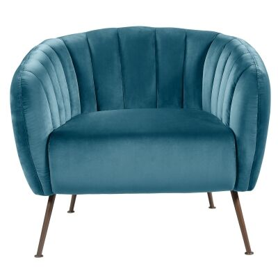Cecil Velvet Fabric Tub Chair, Turquoise