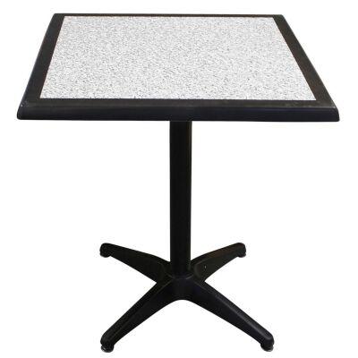 Mestre Commercial Grade Square Dining Table, 60cm, Pebble / Black