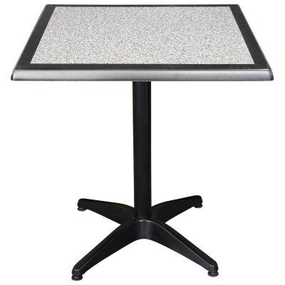 Mestre Commercial Grade Square Dining Table, 70cm, Pebble / Black