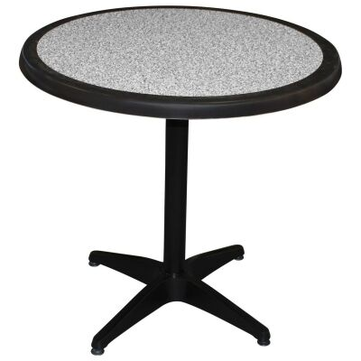 Mestre Commercial Grade Round Dining Table, 80cm, Pebble / Black