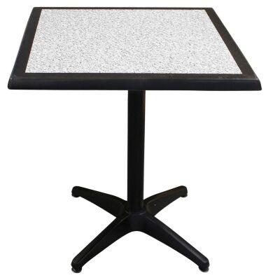 Mestre Commercial Grade Square Dining Table, 80cm, Pebble / Black