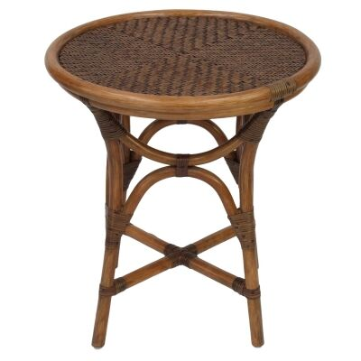 Filton Rattan Round Side Table, Antique Brown