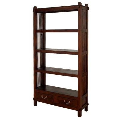Three-Shelf + 2 Drawers Solid Mahogany Open Bookcase - Mahogany