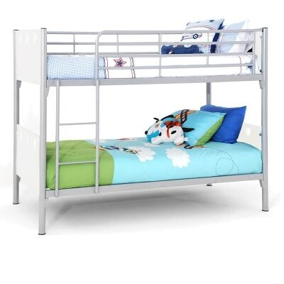 Buddy Metal Bunk Bed, Silver / White