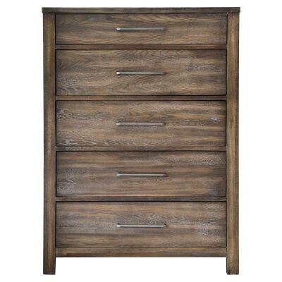 Arlington Rubberwood Timber 5 Drawer Tallboy