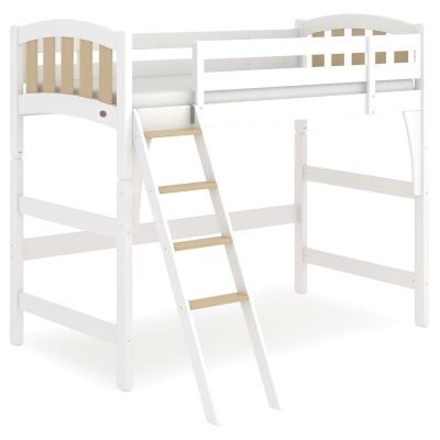 Boori Milano Wooden Loft Bed, King Single, Barley White / Almond