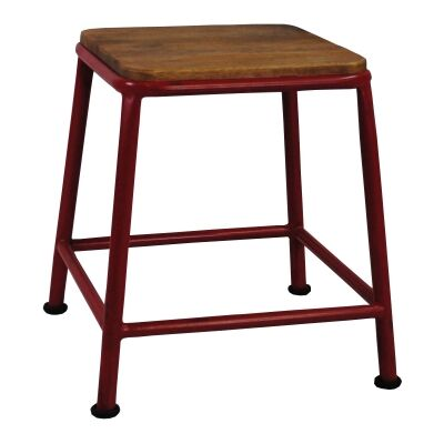 Hunston Metal Table Stool with Timber Seat, Red