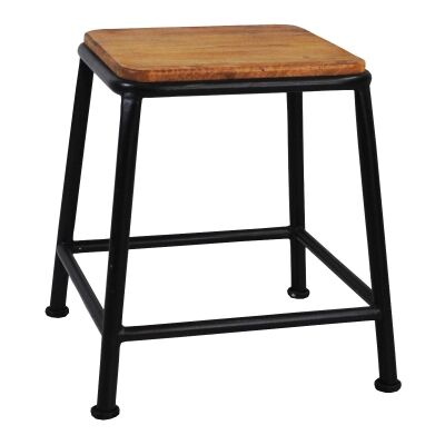 Hunston Metal Table Stool with Timber Seat, Charcoal