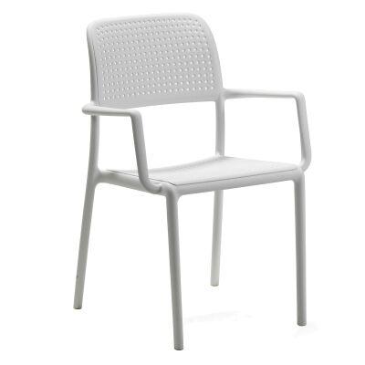 Bora Italian Made Commercial Grade Stackable Indoor/Outdoor Side Armchair - White