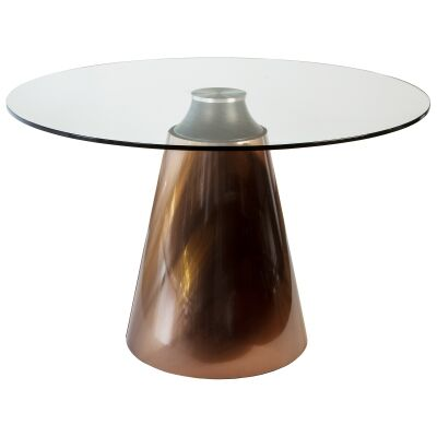 Chanta Glass Top Round Dining Table, 120cm, Bronze