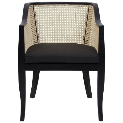 Doyles Beech Timber & Rattan Armchair, Black