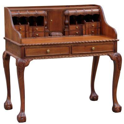 Queen Ann Solid Mahogany Timber Secretarys Desk - Light Pecan