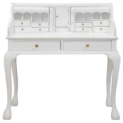 Queen Ann Solid Mahogany Timber Secretarys Desk - White