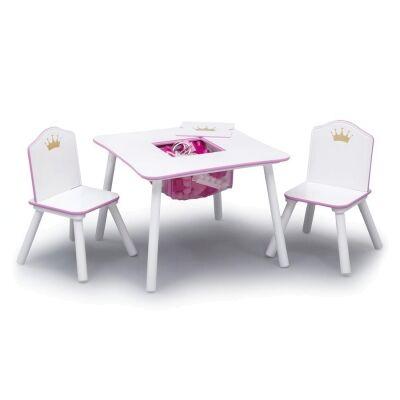 Delta Children Princess Crown 3 Piece Kids Storage Table & Chair Set