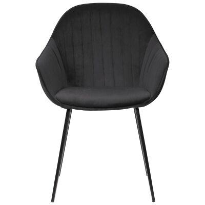 Eford Commercial Grade Velvet Fabric Dining Chair, Black