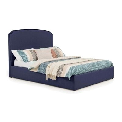Embassy Australian Made Fabric Bed, Queen Size, Navy