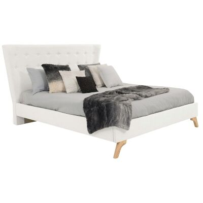 Enterprise Australian Made Fabric Bed, Queen Size, Ivory
