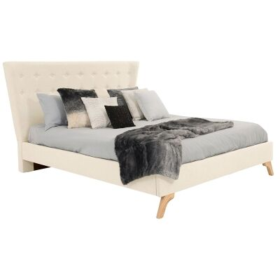 Enterprise Australian Made Fabric Bed, King Size, Linen