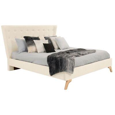 Enterprise Australian Made Fabric Bed, Queen Size, Linen