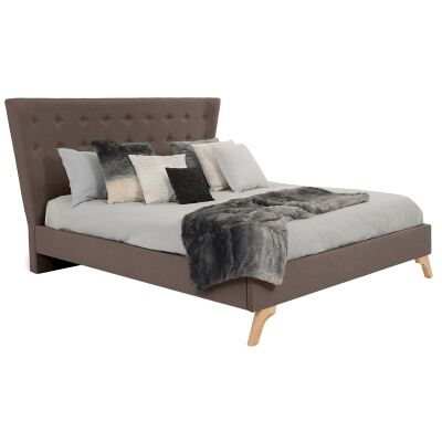 Enterprise Australian Made Fabric Bed, Queen Size, Mocha