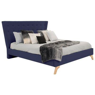 Enterprise Australian Made Fabric Bed, Queen Size, Navy